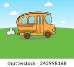 orange school bus riding on the ... | Shutterstock .eps vector #242998168