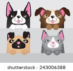 A Vector Set Of 4 Cartoon Dogs...