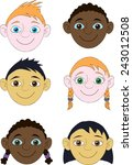 faces of boys and girls of... | Shutterstock . vector #243012508