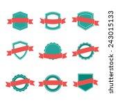 set of blank retro badges | Shutterstock .eps vector #243015133
