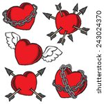 a set of grunge hearts... | Shutterstock .eps vector #243024370