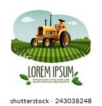 tractor vector logo design... | Shutterstock .eps vector #243038248