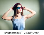 girl in 3d glasses thoughtfully ... | Shutterstock . vector #243040954
