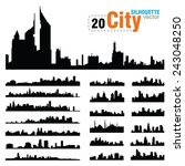 vector silhouettes of city