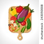 cutting board and vegetables | Shutterstock .eps vector #243050008