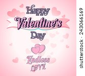 happy valentines day lettering... | Shutterstock .eps vector #243066169