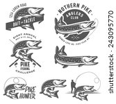 vintage pike fishing emblems ... | Shutterstock .eps vector #243095770