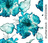 blue watercolor batik flower... | Shutterstock . vector #243103606