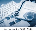 stethoscope with financial on... | Shutterstock . vector #243110146