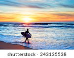 surfer with surfboard walking... | Shutterstock . vector #243135538