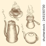 """Hand Drawn Engraving """" Tea  And ..."""