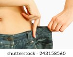 a slim woman is showing how... | Shutterstock . vector #243158560