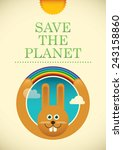 Ecology poster with comic rabbit. Vector illustration. - stock vector