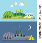day and night in the tourist... | Shutterstock .eps vector #243168784