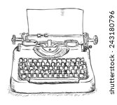 vector sketch retro typewriter | Shutterstock .eps vector #243180796