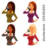 cartoon girls with mobile phone   Shutterstock .eps vector #243181843