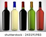 colorful wine bottle on white... | Shutterstock .eps vector #243191983