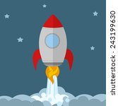 rocket ship start up concept... | Shutterstock . vector #243199630