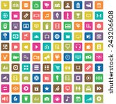 100 cinema icons big universal... | Shutterstock .eps vector #243206608