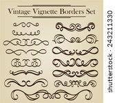vintage vignette borders set   Shutterstock .eps vector #243211330