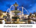 Fountain On Rossio Square At...