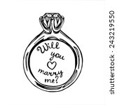 hand drawn will you marry me... | Shutterstock .eps vector #243219550