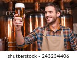 happy brewer. happy young male... | Shutterstock . vector #243234406