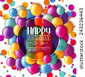 birthday card with multicolored ... | Shutterstock .eps vector #243236443