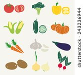 set of color simple vegetables... | Shutterstock .eps vector #243236944