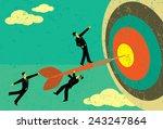 hitting the target businessmen... | Shutterstock .eps vector #243247864