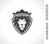 Stock vector lion face logo emblem template for business or t shirt design vector vintage design element 243250210