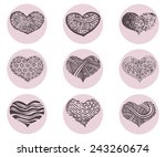 hearts vector icon set | Shutterstock .eps vector #243260674