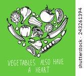 hand drawn vegetable heart | Shutterstock .eps vector #243261394