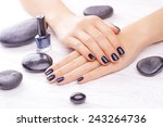 beautiful black manicure with... | Shutterstock . vector #243264736