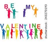 children silhouettes holding... | Shutterstock .eps vector #243270193