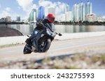 Young Man Riding  Big Bike ...