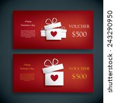 valentines day gift voucher or...   Shutterstock .eps vector #243290950