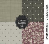 set of 4 linen fabric. seamless ... | Shutterstock .eps vector #243293206