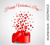 heart gift with fly hearts for... | Shutterstock .eps vector #243296413