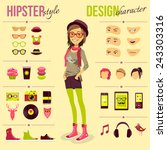 hipster girl set with fashion... | Shutterstock .eps vector #243303316