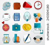 business flat icons set with... | Shutterstock .eps vector #243304180