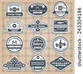 retro emblems set with food... | Shutterstock .eps vector #243304186