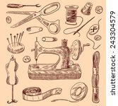 sewing decorative icons sketch... | Shutterstock .eps vector #243304579