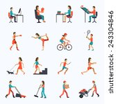 physical activity icons set... | Shutterstock .eps vector #243304846