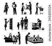 people in supermarket men and...   Shutterstock .eps vector #243305224