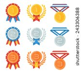 gold  silver  bronze medal in... | Shutterstock .eps vector #243306388