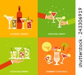 alcohol cocktails icons flat... | Shutterstock .eps vector #243306919
