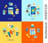 media news social communication ... | Shutterstock .eps vector #243307120