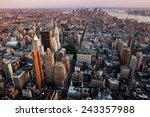 Stock photo new york city manhattan overlook to the skyscrapers at sunset 243357988