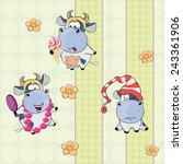 a background with cows. vector... | Shutterstock .eps vector #243361906